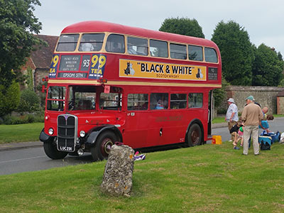 1951 red double deck bus