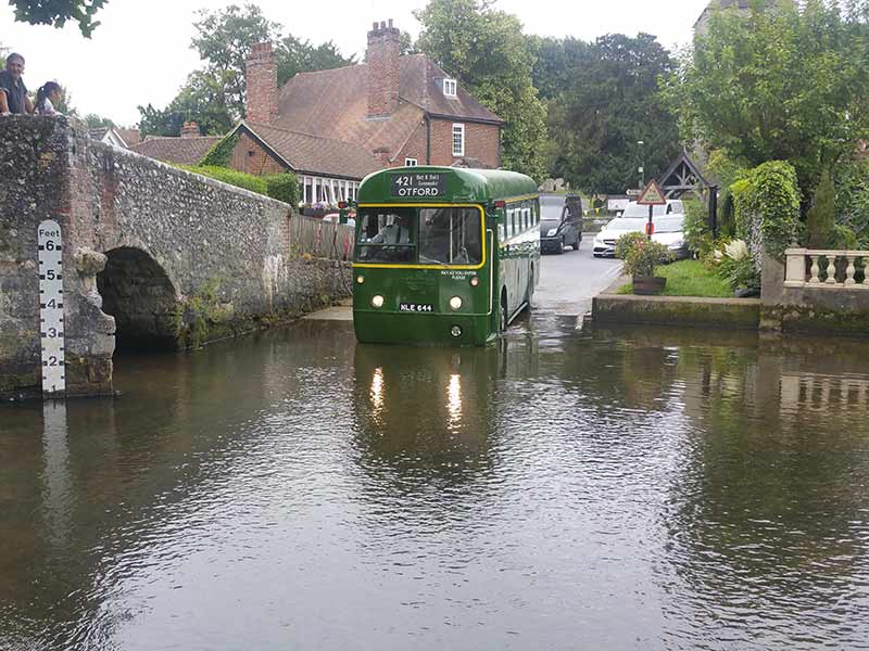 our 1953 RF bus crossing a river
