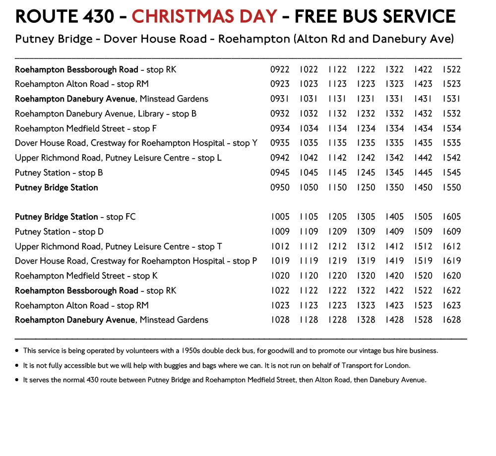 Route 430 Christmas Day Timetable 2017