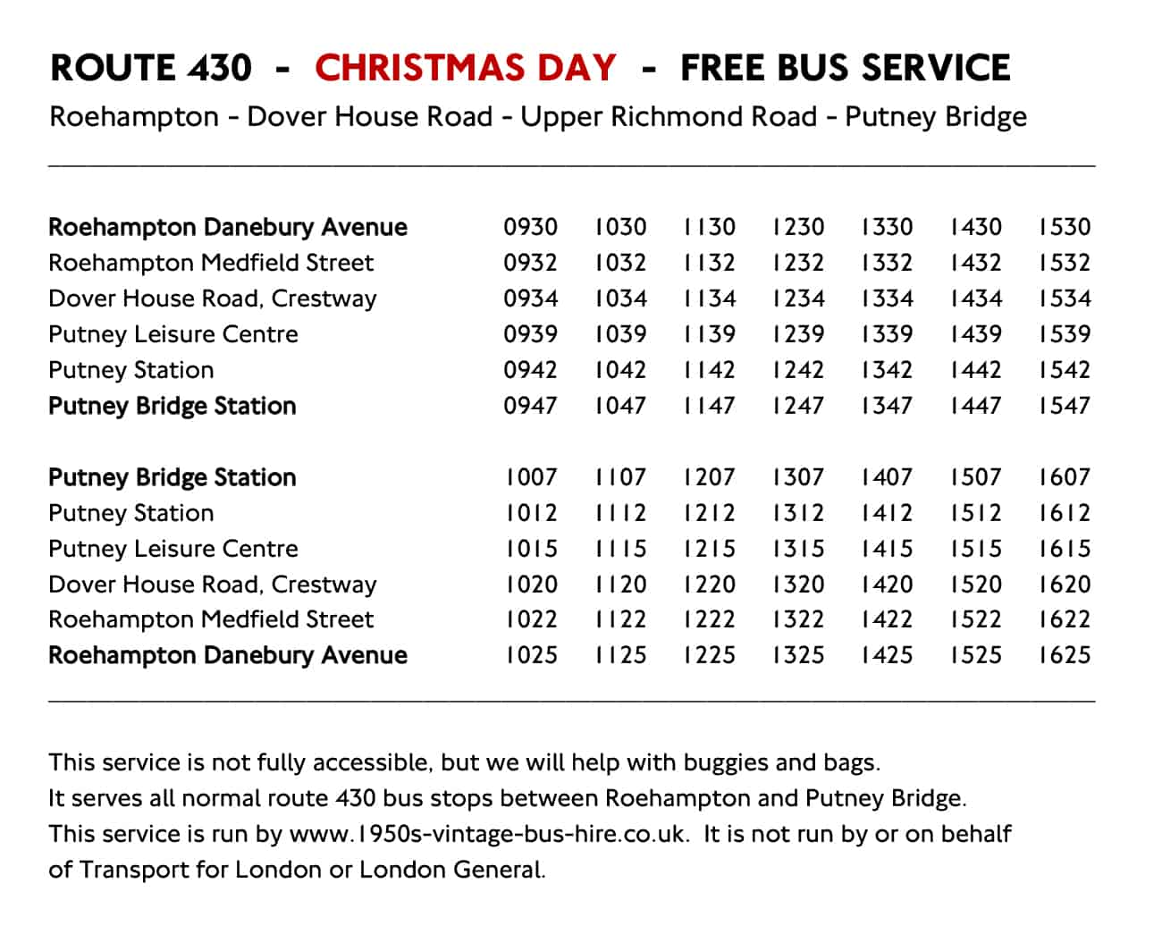 Route 430 Christmas Day Timetable 2018