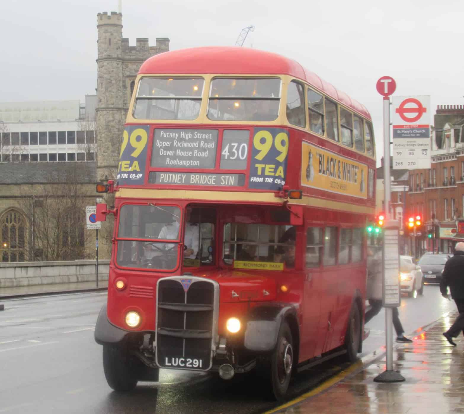Our classic RT bus on Route 430 Roehampton to Putney Bridge