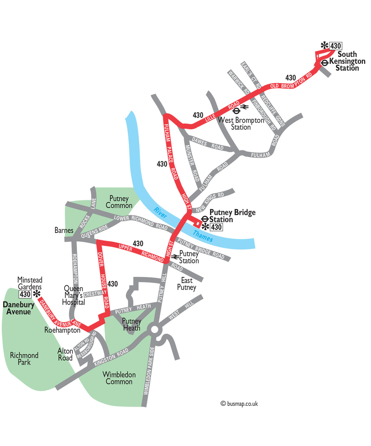 Free Christmas Bus Route 430 Map